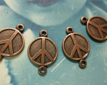 10mm Copper Ox Plated Peace Sign Connectors Charms 234COP x4