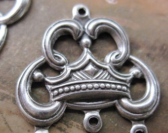 Antique Silver Ox Plated Crown Connectors Dangles with three rings 382SOX x2