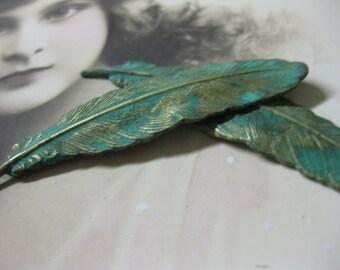 Verdigris Patina Small Bird Feather Stampings 721VER x2