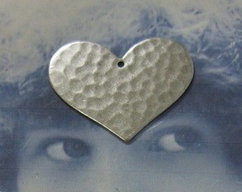 Silver Ox Plated Hammered Heart Charm Pendants 773SOX x2
