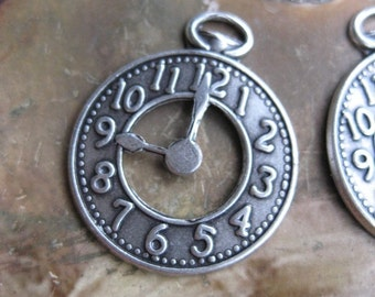 Sterling Silver Ox Plated Pocket Watch Charms Pendants 570SOX x2