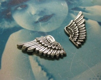 Silver Ox Plated Brass Wings With or Without Holes 369SOX x2