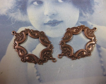 Copper Ox Plated Ornate Open Frame Connectors 36COP x2