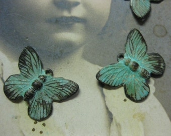 Verdigris Patina Brass Butterfly Charms 327VER x4