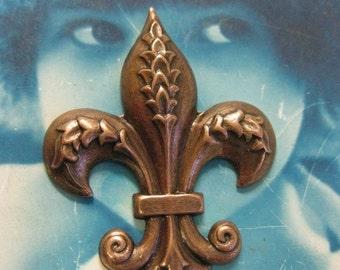 Copper Ox Plated Fleur De Lis  Brass Charm Stampings 414COP x2