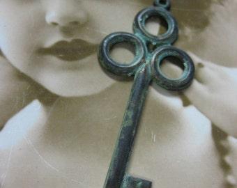 Hand Aged Verdigris Patina  Large Skeleton Key 109VER x1