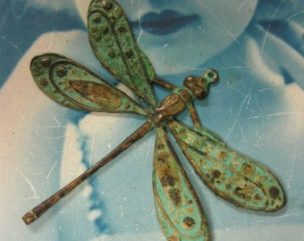 Verdigris Patina Brass Ornately Detailed Dragonfly Pendants 322VER x1