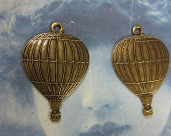 Brass Ox Plated Small Hot Air Balloon Charms 559BOX x2