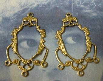 Raw Brass Filigree Earring Chandeliers 597RAW x2