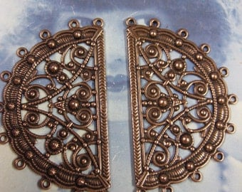 Copper Ox Plated Half Circle Ornate Filigree 11 rings  807COP x2