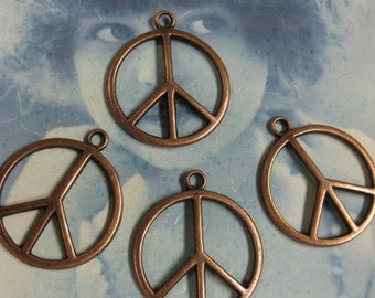 Copper Ox Plated Tibet Cast Peace Sign  Charms 237COP x4