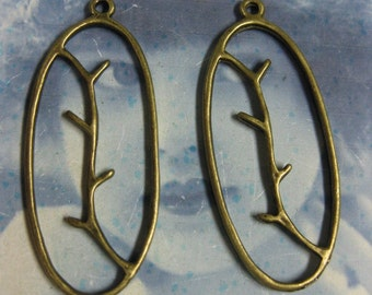 Bronze Ox Plated Leaves on a Branch  Charms 864BRZ x4