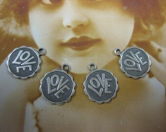 Silver Ox Plated Mini Scalloped Edge LOVE Charms 865SOX x4