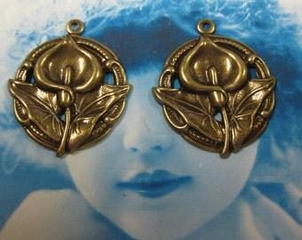 Brass Ox Plated Calla Lily Pendants 283BOX x2