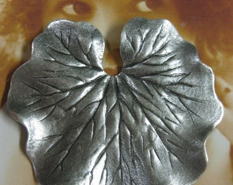 Silver Ox Plated Large Brass Leaf Stamping 835SOX x1