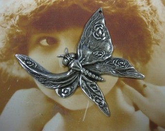 Silver Ox Plated Floral Butterfly Stamping Pendants  724SOX x2
