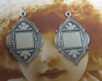 Sterling Silver Ox Plated Brass Medallions 35SOX x2