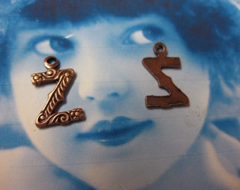 Copper Ox Plated Small  Fancy Initial Charms Letter Z 748Z COP x1