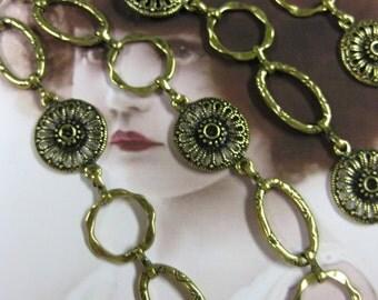 Tibet Handmade  Alloy 35 inch  Antique Brass Designer Chain 610GOL x1