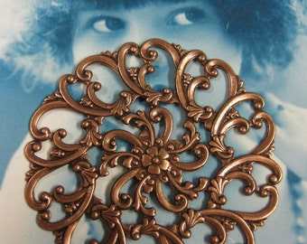 Copper Ox Plated Large Brass Floral Filigree 14COP x1
