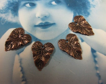 Copper Ox Plated Very Detailed Ivy Leaf Charms 837COP x4