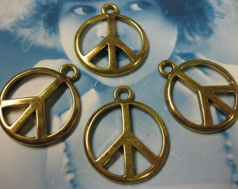 25mm Antique Brass Style  Casted  Peace sign charms 237GOL x4