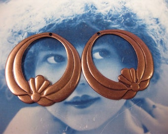 Copper Ox Plated Large Japanese Lotus Crest Hoops 659COP x2