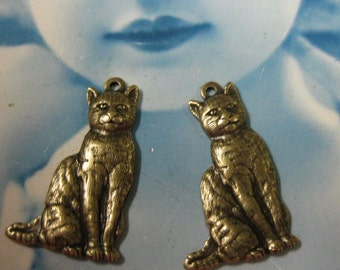 Brass Ox Plated Brass Cat Charms 153BOX x2
