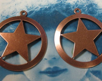 Copper Ox Plated Large Star in Circle Pendants 680COP x2