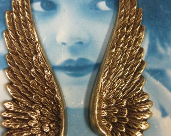 Brass Ox Plated Large Wing Stampings  927BOX x2
