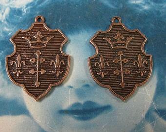 Copper Ox Plated Shields with Crowns and Fleur De Lis Pendants 575COP x3