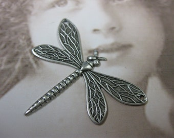 Sterling Silver Ox Plated Dragonfly Charms 2 Holes 324SOX x2
