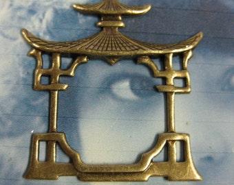 Brass Ox Plated Asian Pagoda Frame earring Drops  510BOX x2