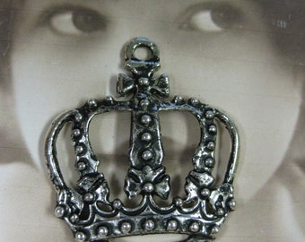 Antique Silver Large Filigree Crown Charms 984SIL x2