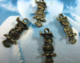Last Chance Clearance Bronze Ox  Wise Olde Owl on a Perch  Pendants 945BRO x4