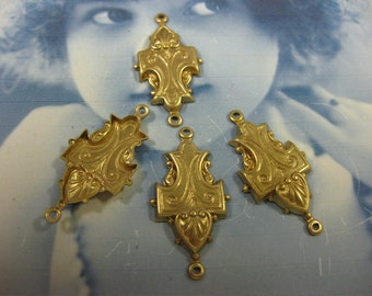 Raw Brass Ornate Brass Jewelry  Connectors 38RAW x2