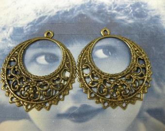 Brass Ox Plated Filigree Earring Hoops 471BOX x2