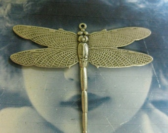 Sterling Silver Ox PLated Large Dragonfly Charms Pendants 323SOX x2