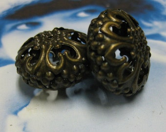 Bronze Ox Plated Filigree Beads  700BRZ  x2