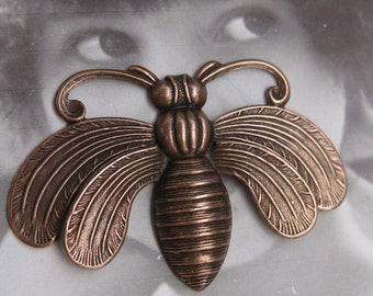 Copper Ox Plated Large Queen Bee Stamping Pendant 845COP x1