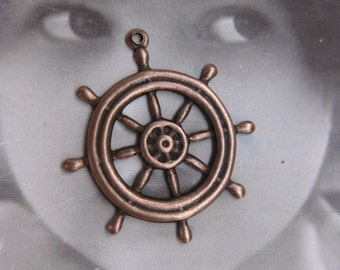 Copper Ox Mariner Ships Wheel Brass Charms 1006COP x2