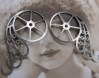 Steampunk Gear Wings Stamping Silver Ox PLated Very Large 1055SOX x2