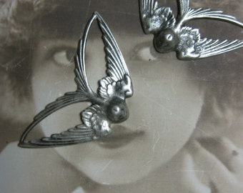 Silver Ox Plated Bird in Flight Stamping Pendant 1037SOX  x2