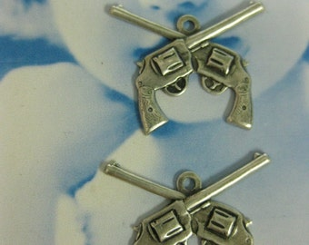 Double Six Shooter Gun Charms Silver Ox Plated 165SOX x2