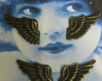 Brass Ox Plated Brass Wings With or Without Holes 369BOX x2