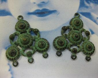 Verdigris Patina Brass Filigree Earring Drops 6VER x2
