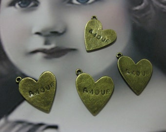 Antique Bronze Ox Plated Heart Pendants Stamped AMOUR 1146BRZ x4