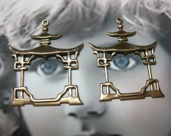 Copper Ox Plated Asian Pagoda Frame earring Drops  510COP x2