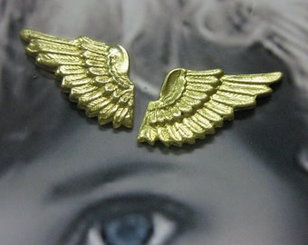 Raw Brass Angel Wings Stampings with or Without Holes 369RAW x2