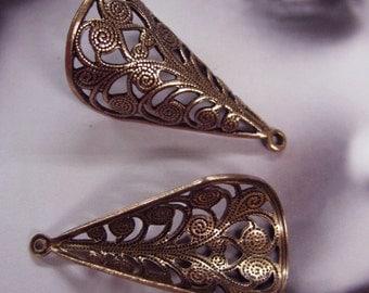 Copper Ox Plated Filigree Bead Caps 353COP x2